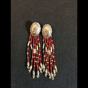 Jewelry - Southwestern  Red and Clear Concho pierced earring